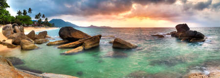 Panorama of sunrise on Lamai beach, Samui