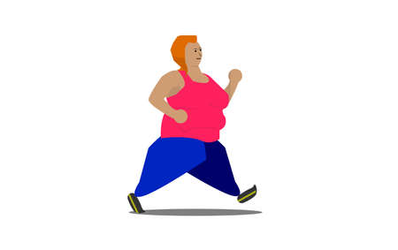 An illustration of a heavyweight woman with sport attire go for a jog with isolated white background. Healthy lifestyle concept.