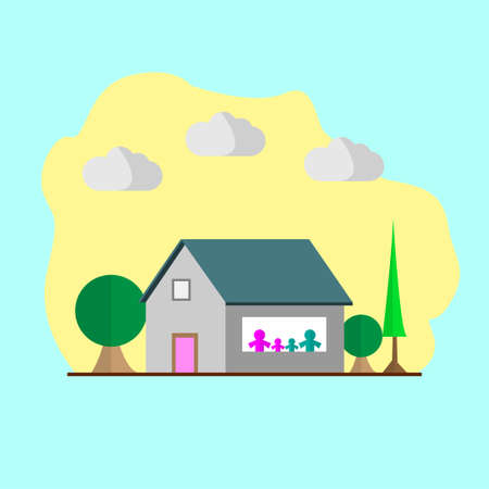 Illustration pour A flat illustration of a house during the day with urban scenery background. Happy family staying at home looking outside the window. - image libre de droit