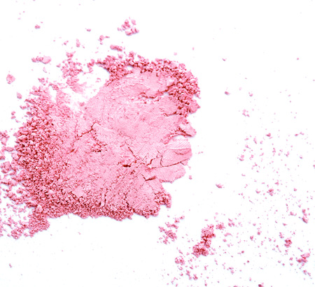 Photo for Makeup cheeks and eye. Pink Cosmetic powder on white background - Royalty Free Image