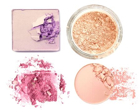 set of eyeshadow and face powder isolated on white.の写真素材