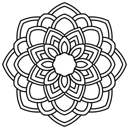 Illustration pour Ornamental round doodle flower isolated on white background. Black outline mandala. Geometric circle element. Vector illustration. - image libre de droit