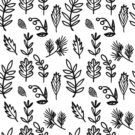 Illustration pour Vector seamless hand drawn floral pattern. Background with plants, leaves, spruce branch, berry, cone. - image libre de droit