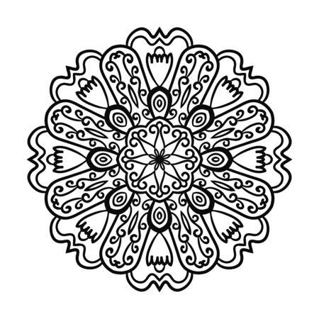 Illustration pour Outline Mandala. Ornamental round doodle flower isolated on white background. Geometric circle element. Vector illustration. - image libre de droit