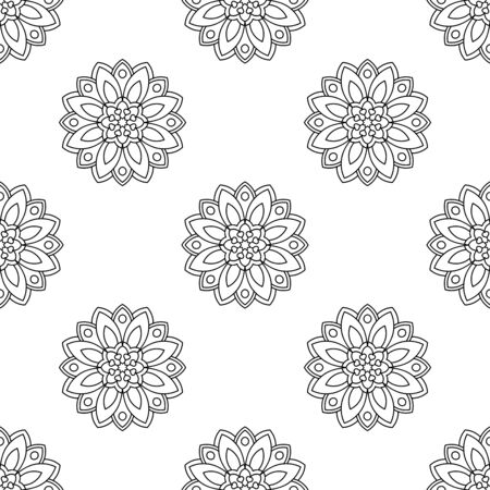 Illustration pour Fantasy seamless pattern with ornamental mandala. Abstract round doodle flower background. Floral geometric circle. Vector illustration.   - image libre de droit