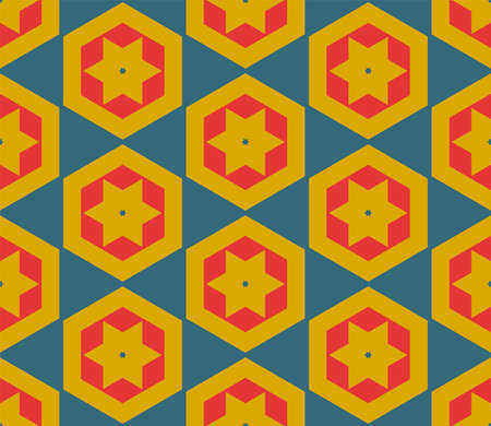 Illustration pour Abstract fantasy thin line hexagon, triangle geometric seamless pattern. Creative mosaic, tile background. - image libre de droit