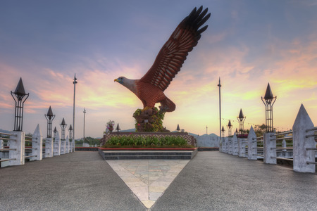 Eagle Square in Langkawi, Malaysia during sunrise