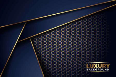 Illustration pour luxurious dark navy gold line overlap background with hexagon mesh pattern combination. elegant modern technology futuristic background vector illustration - image libre de droit