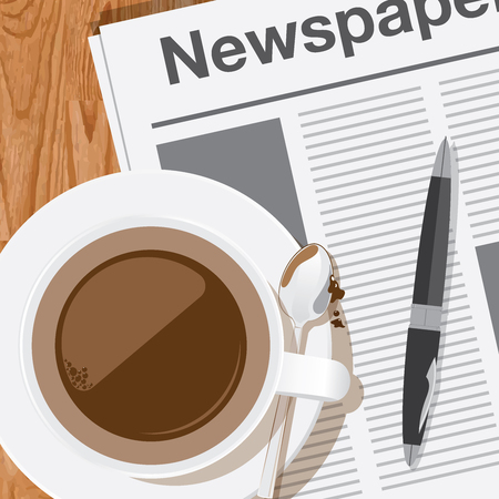 coffee,reading the newspaper vector