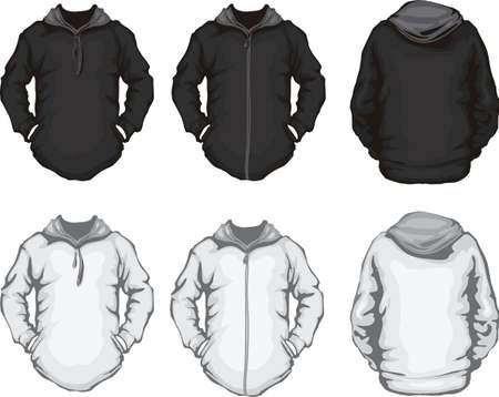 vector illustration of black and white men s hoodie sweatshirt template, front and back design