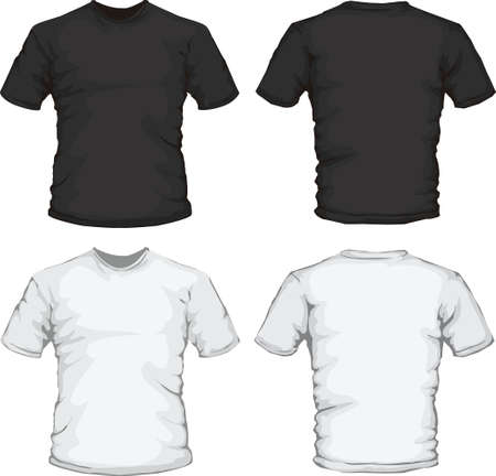 vector illustration of black and white male shirt design template