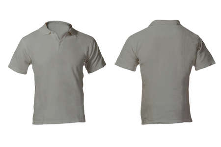 Men's Blank Grey Polo Shirt, Front and Back Design Template