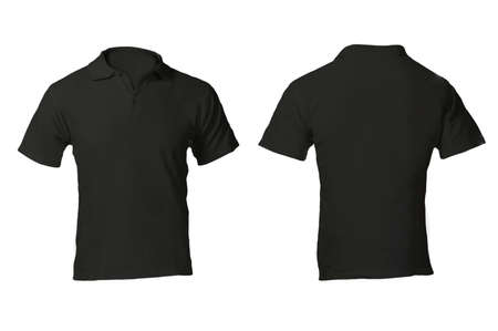 Men's Blank Black Polo Shirt, Front and Back Design Template