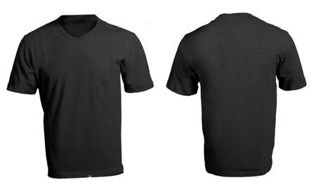 Men's Blank Black V-Neck Shirt, Front and Back Design Template
