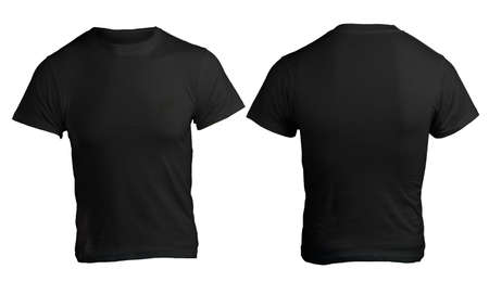 Men's Blank Black Shirt, Front and Back Design Template