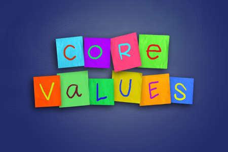 Photo pour The words Core Values written on sticky colored paper - image libre de droit