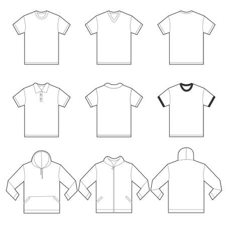 Vector illustration of white shirts template in many variation, front and back design isolated on white