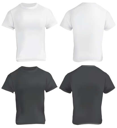 5c9bdf0c9 Vector illustration of black and white blank t-shirt template, front and  back,