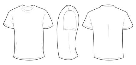Illustration pour Vector illustration of blank white men t-shirt template, front, side and back design isolated on white - image libre de droit