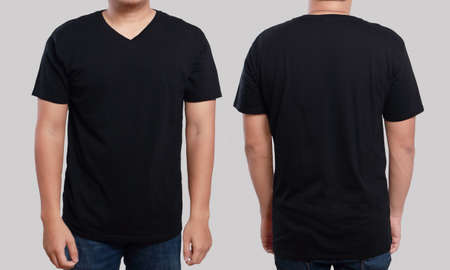 Black t-shirt mock up, front and back view, isolated. Male model wear plain black shirt mockup. V-Neck shirt design template. Blank tees for print