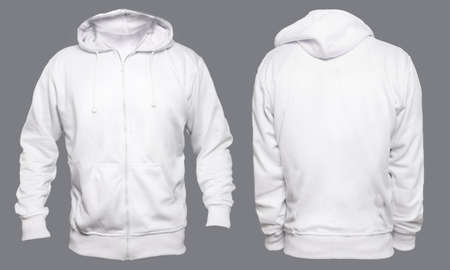 Blank sweatshirt mock up template, front, and back view, isolated on grey, plain white hoodie mockup. Hoody design presentation. Jumper for print. Blank clothes sweat shirt sweater