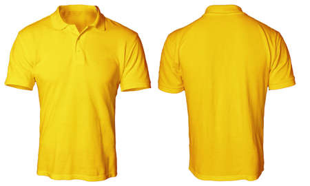 ce5365ee Blank polo shirt mock up template, front and back view, isolated on white,