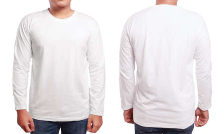 Photo pour White long sleeved t-shirt mock up, front and back view, isolated. Male model wear plain white shirt mockup. Long sleeve shirt design template. Blank tees for print - image libre de droit