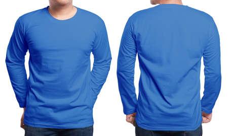 Foto de Blue long sleeved t-shirt mock up, front and back view, isolated. Male model wear plain navy blue shirt mockup. Long sleeve shirt design template. Blank tees for print - Imagen libre de derechos
