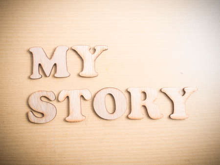 Foto de My Story, business motivational inspirational quotes, wooden words typography lettering concept - Imagen libre de derechos