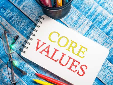Photo pour Core Values, business ethics motivational inspirational quotes, words typography concept - image libre de droit