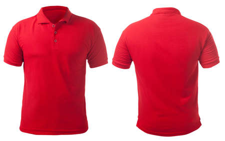 Photo pour Blank collared shirt mock up template, front and back view, isolated on white, plain red t-shirt mockup. Polo tee design presentation for print. - image libre de droit