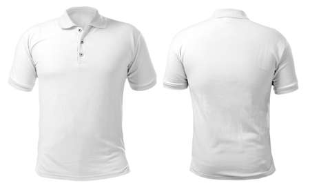 Photo pour Blank collared shirt mock up template, front and back view, isolated on white, plain t-shirt mockup. Polo tee design presentation for print. - image libre de droit