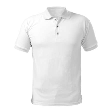 Photo pour Blank collared shirt mock up template, front  view, isolated on white, plain t-shirt mockup. Polo tee design presentation for print. - image libre de droit