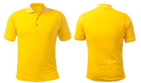 Foto per Blank collared shirt mock up template, front and back view, isolated on white, plain yellow t-shirt mockup. Polo tee design presentation for print. - Immagine Royalty Free