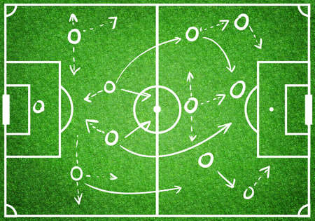 Photo pour Football soccer game plan strategy, coaching in sport concept, top view green field - image libre de droit