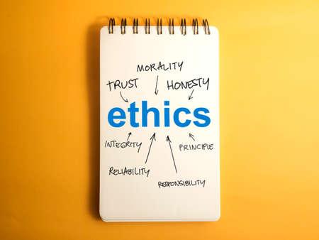 Foto de Ethics. Motivational inspirational business words quotes lettering typography concept - Imagen libre de derechos