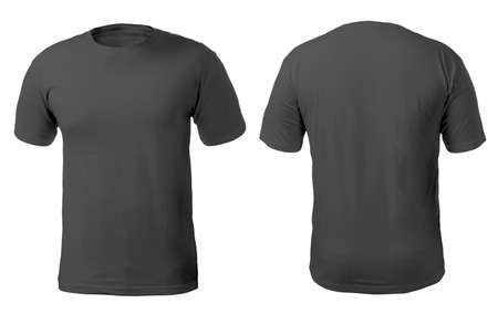 Foto de Blank black shirt mock up template, front and back view, isolated on white, plain t-shirt mockup. Tee sweater sweatshirt design presentation for print. - Imagen libre de derechos