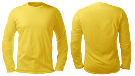 Photo pour Blank long sleeved shirt mock up template, front and back view, isolated on white, plain yellow t-shirt mockup. Tee sweater sweatshirt design presentation for print. - image libre de droit