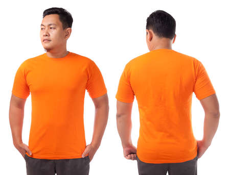 Photo for Orange t-shirt mock up, front and back view, isolated. Male model wear plain orange shirt mockup. Tshirt design template. Blank tee for print - Royalty Free Image