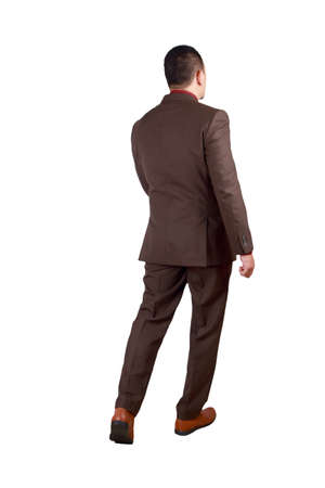 Photo for Full body portrait of Asian businessman in formal suit isolated on white. Rear view of successful man gentleman business person standing walking - Royalty Free Image