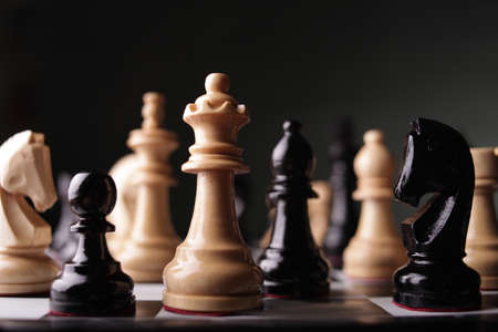 Photo for Chess game, close up image with selective focus, business strategy concept - Royalty Free Image