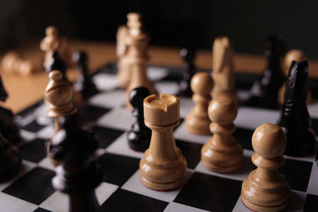 Photo pour Chess game, close up image with selective focus, business strategy concept - image libre de droit