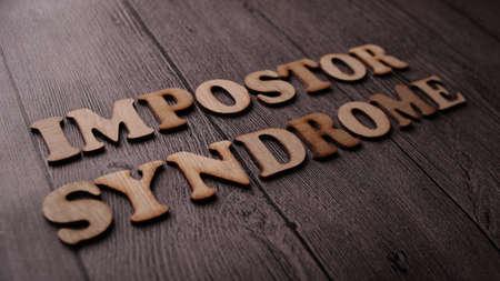 Foto de Impostor Syndrome, Mental Health quotes, words typography top view lettering concept - Imagen libre de derechos