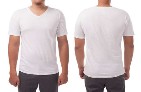 Photo pour White v-neck t-shirt mock up, front and back view, isolated. Male model wear plain white shirt mockup. V Neck shirt design template. Blank tees for print - image libre de droit