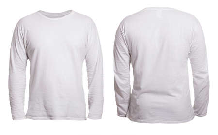Photo pour Blank long sleeved shirt mock up template, front and back view, isolated on white, plain t-shirt mockup. Tee sweater sweatshirt design presentation for print. - image libre de droit