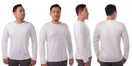 Foto de White long sleeved t-shirt mock up, front side and back view, isolated. Male model wear plain white shirt mockup. Long sleeve shirt design template. Blank tees for print - Imagen libre de derechos
