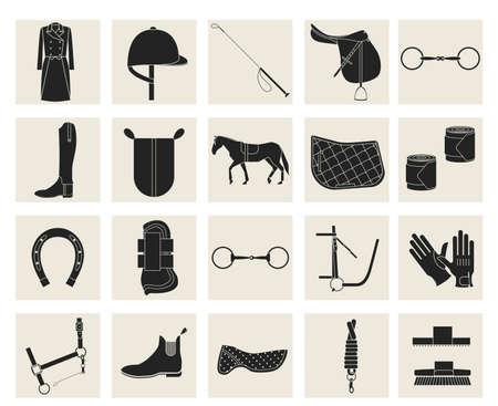 Illustration pour Collection of horseback riding gear and riding attire. - image libre de droit