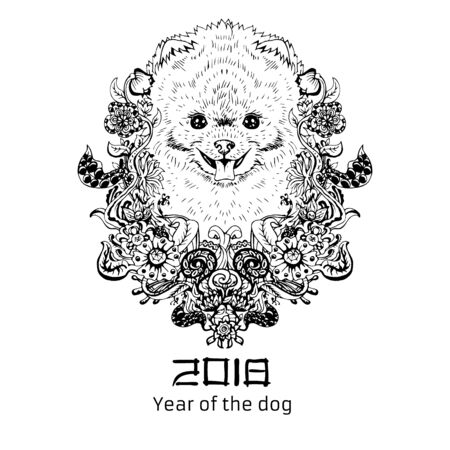 2018 Zodiac Dog. New year design. Christmas background. Dog s face with flowers. Pomeranian breed. Vector illustration.