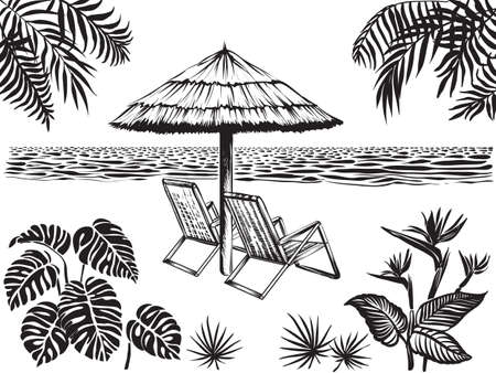Illustration for Beach scenery view with tropical leaves of palm, monstera and exotic flowers . Umbrella, two chairs surrounded ocean and jungle plants. Summer vacation landscape, vector sketch. - Royalty Free Image