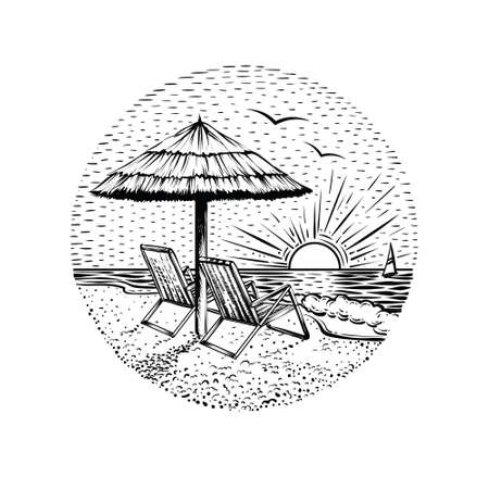Illustration pour Beach landscape with parasol and two chairs. Black line graphic illustration on white backgraund. Round sea vacation emblem, card or logo element. - image libre de droit